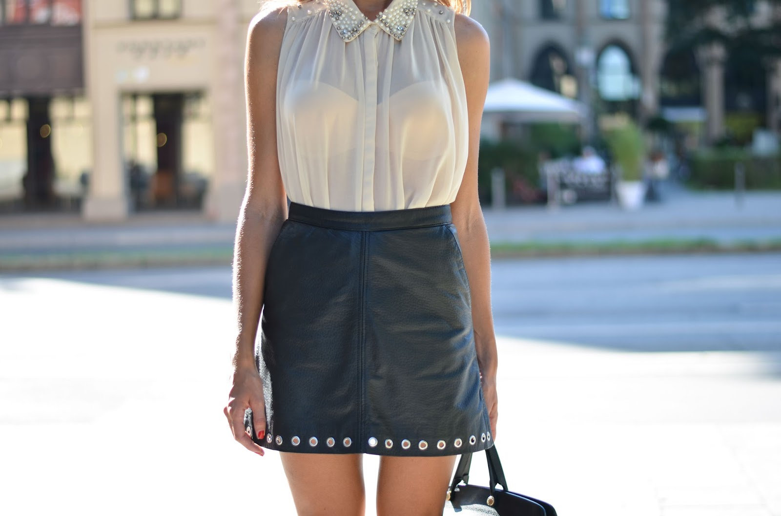 kristjaana mere nude sleeveless top leather mini skirt fall 2015 trend outfit