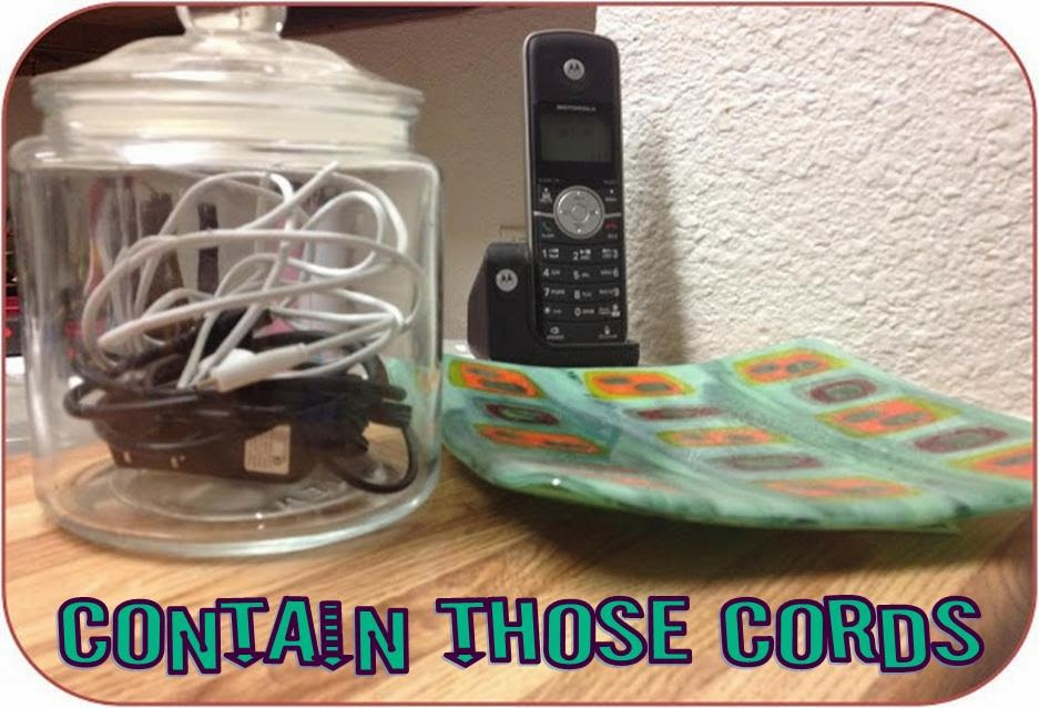 Quick and easy storage solution to organize and contain chargers and cords.