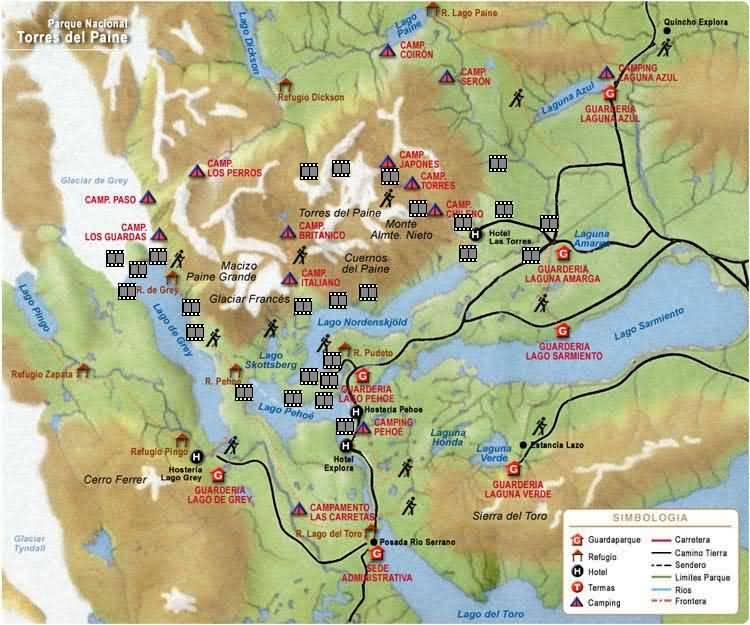 Circuito W Torres Del Paine Mapa : Torres del paine u circuito camping días