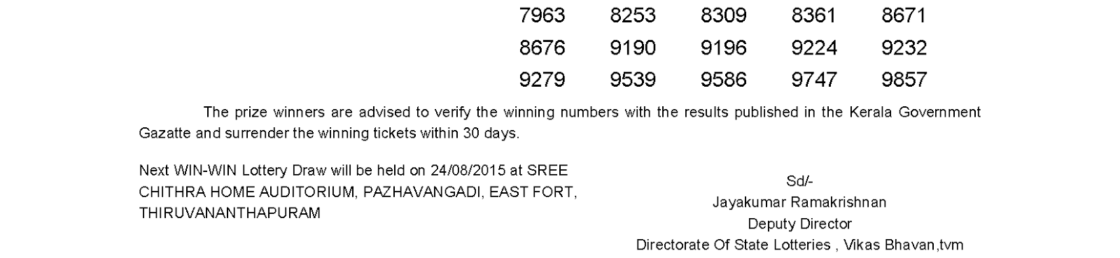 WIN WIN Lottery W 321 Result 17-8-2015
