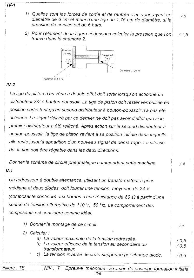 Examen de passage Théorique TEMI 2006 3
