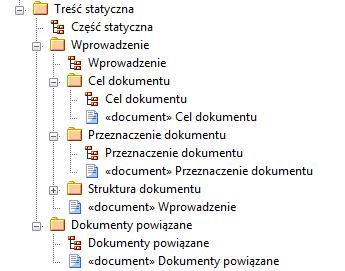 struktura pakietów zawierająca treść statyczną dokumentu