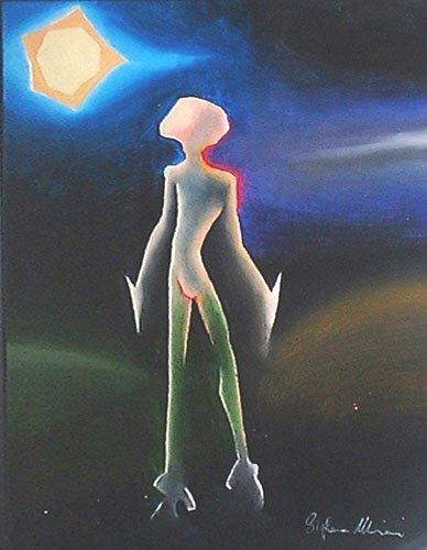 spaceboy alieno ragazzo spazio dipinto pittura orme magiche quadro disegno pittura spirituale arte zen