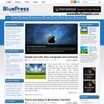 BluePress blog template. template image slider blog. magazine blogger template style