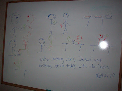 My children got a charge out of my drawings and I got a charge out of their interpretation of my drawings as it translated to their pages.  It was reassuring to know that eventhough I lack artistic talent, my children were learning these key events around The Last Supper!