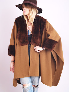Vintage 1970's brown bohemian style cashmere poncho with dark brown beaver fur trim.
