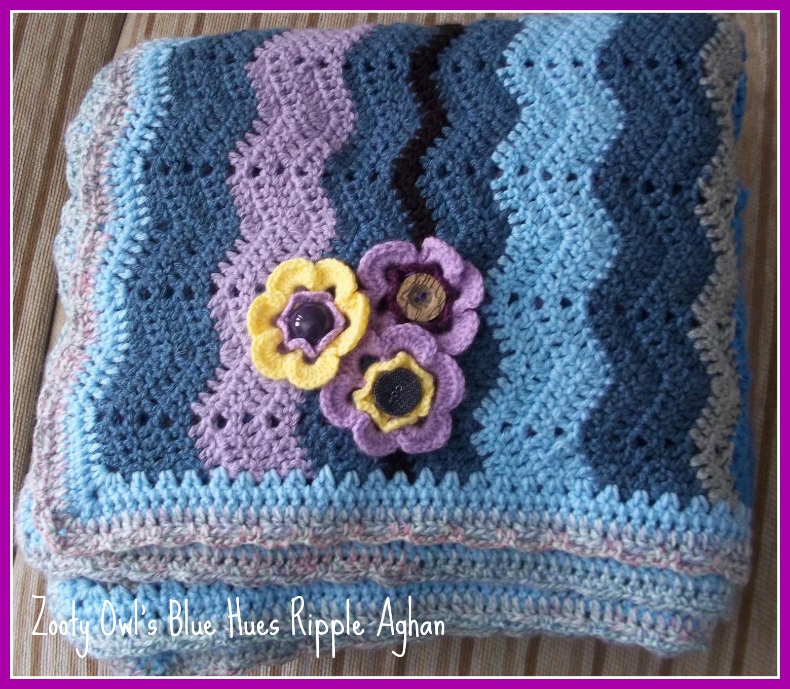 Zooty Owl\'s Crafty Blog: Ripple Crochet Afghan: Blue Hues