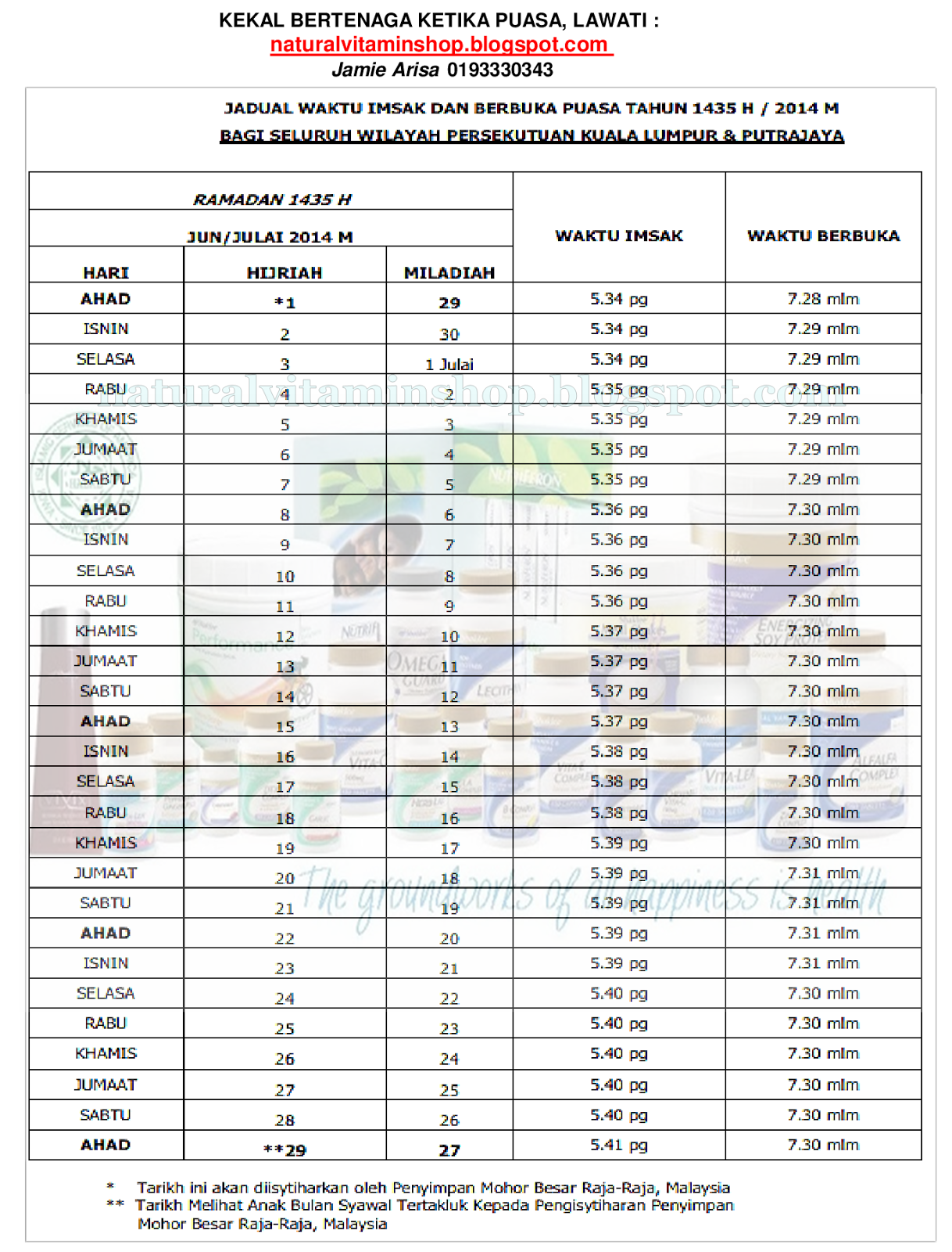 Jadual Buka Puasa 2014