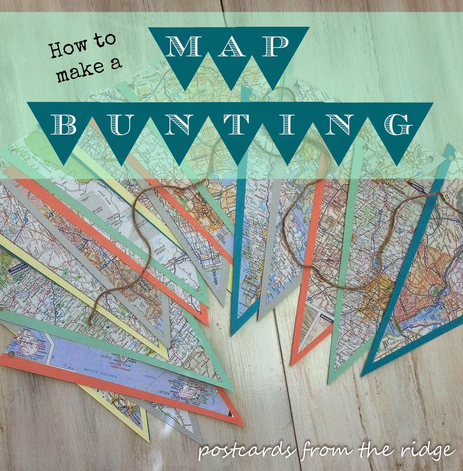 How to make a map bunting. She used maps of places they've traveled to. This one can be easily added to.