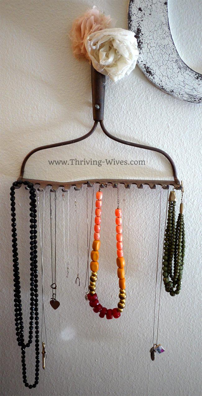 vintage home decor antique rake necklace holder
