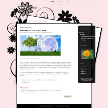 Classy Pink Blogger Template. blogger template from wordpress theme