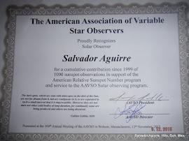 Reconocimiento de AAVSO por 1000 Observaciones Solares. Noviembre 2015.