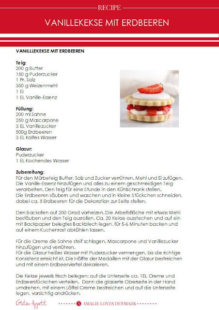 Amalie loves Denmark Rezept für Vanillekekse mit Erdbeeren