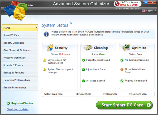 advanced system optimizer is a system tweaking suite that includes