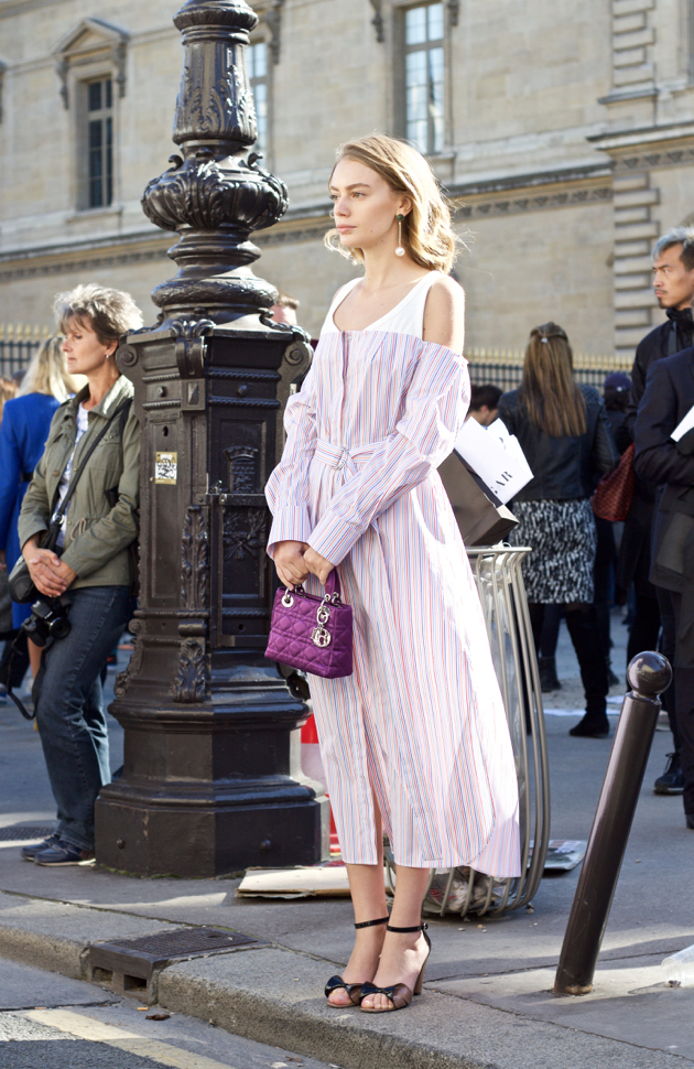 dress shirt dress, magenta Dior purse