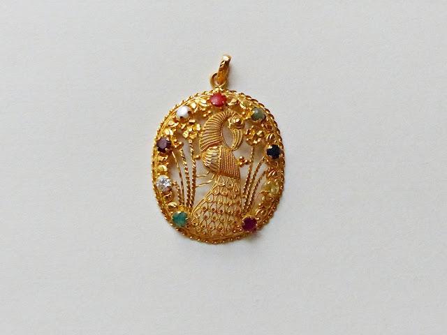 Peacock navaratna gold pendant