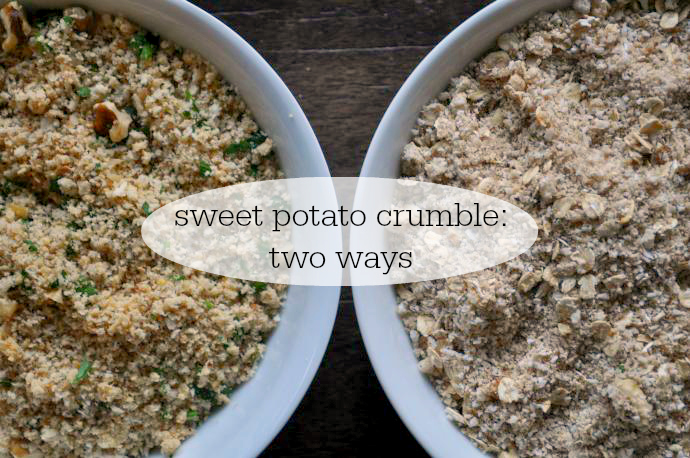 Sweet potato crumble, Meatless Monday, Vegetarian, dairy-free, gluten-free
