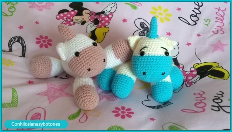 Bebe unicornio amigurumi azul Con hilos, lanas y botones