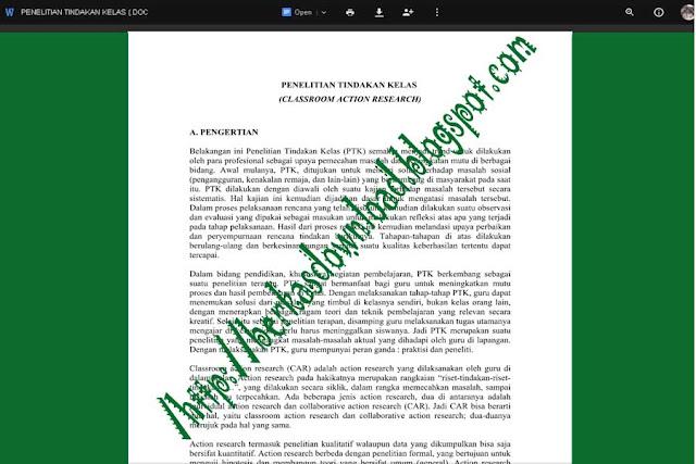 Download Contoh Penelitian Tindakan Kelas (PTK) Terbaru