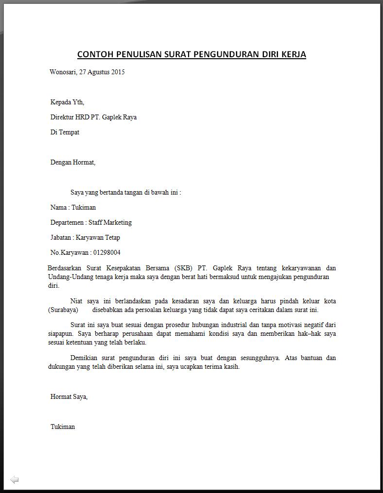 Contoh Surat Resmi Resign