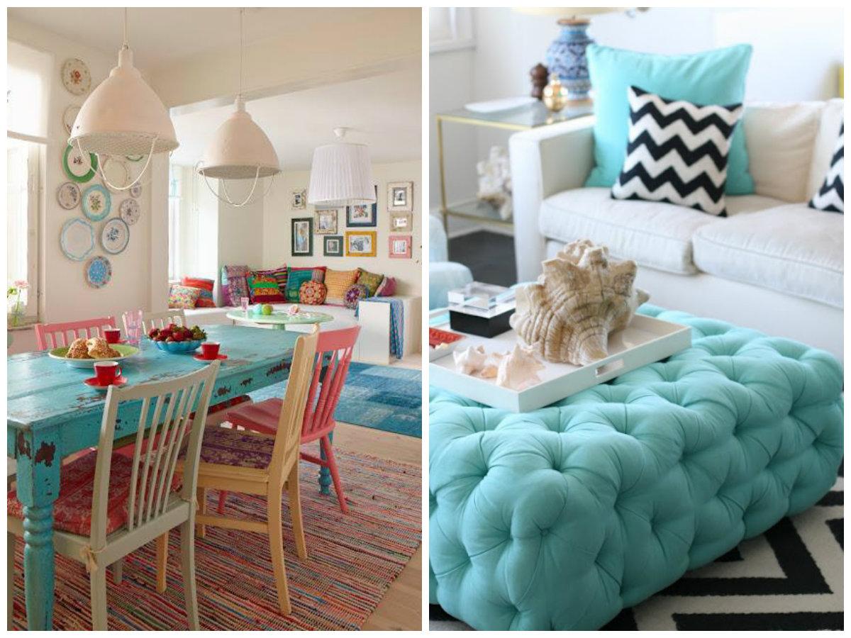 Garota sem frescura decora o detalhes em azul turquesa for Sofa azul turquesa