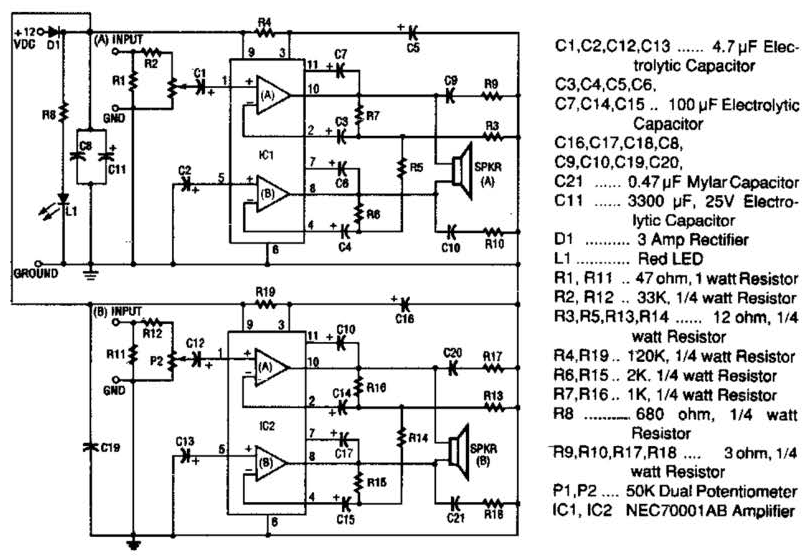 20w Stereo Amplifier Circuit Diagram