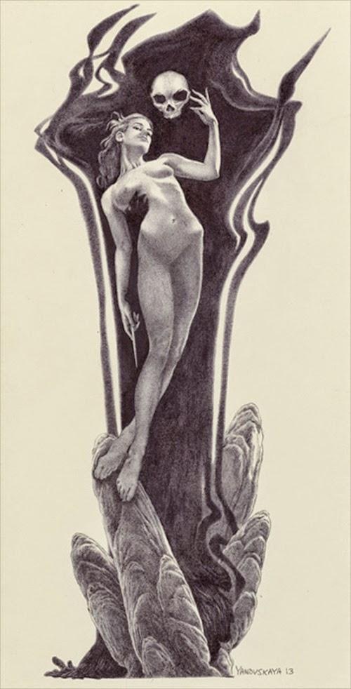 10-Death-Rocks-Rebecca-Yanovskaya-Ballpoint-Pen-and-Gold-Leaf-Drawings-www-designstack-co