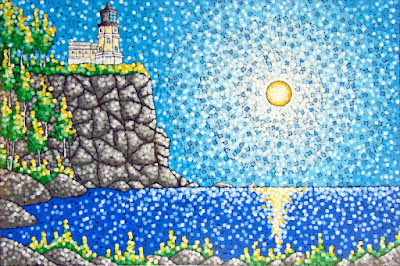 Light of the World painting by aaron kloss artist, split rock lighthouse painting, duluth painter, minnesota landscape painting