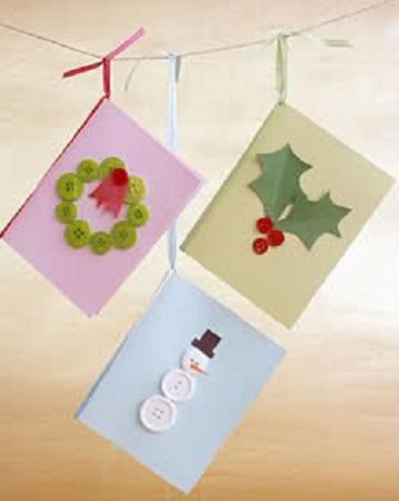 Tarjetas de navidad con materiales reciclados - Ideas para hacer postales de navidad con ninos ...