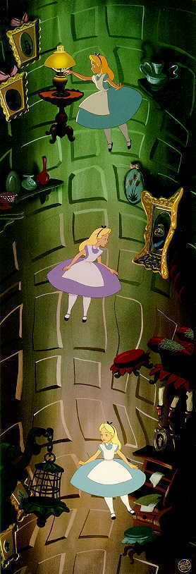 Alice Falling down Rabbit Hole!