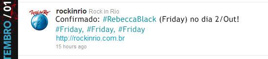 Confirmado Rebeca Black no Rock in Rio 2011 - Twitter