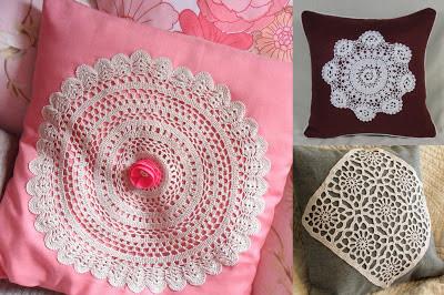 Almofadas de crochê  com aplique de tecido