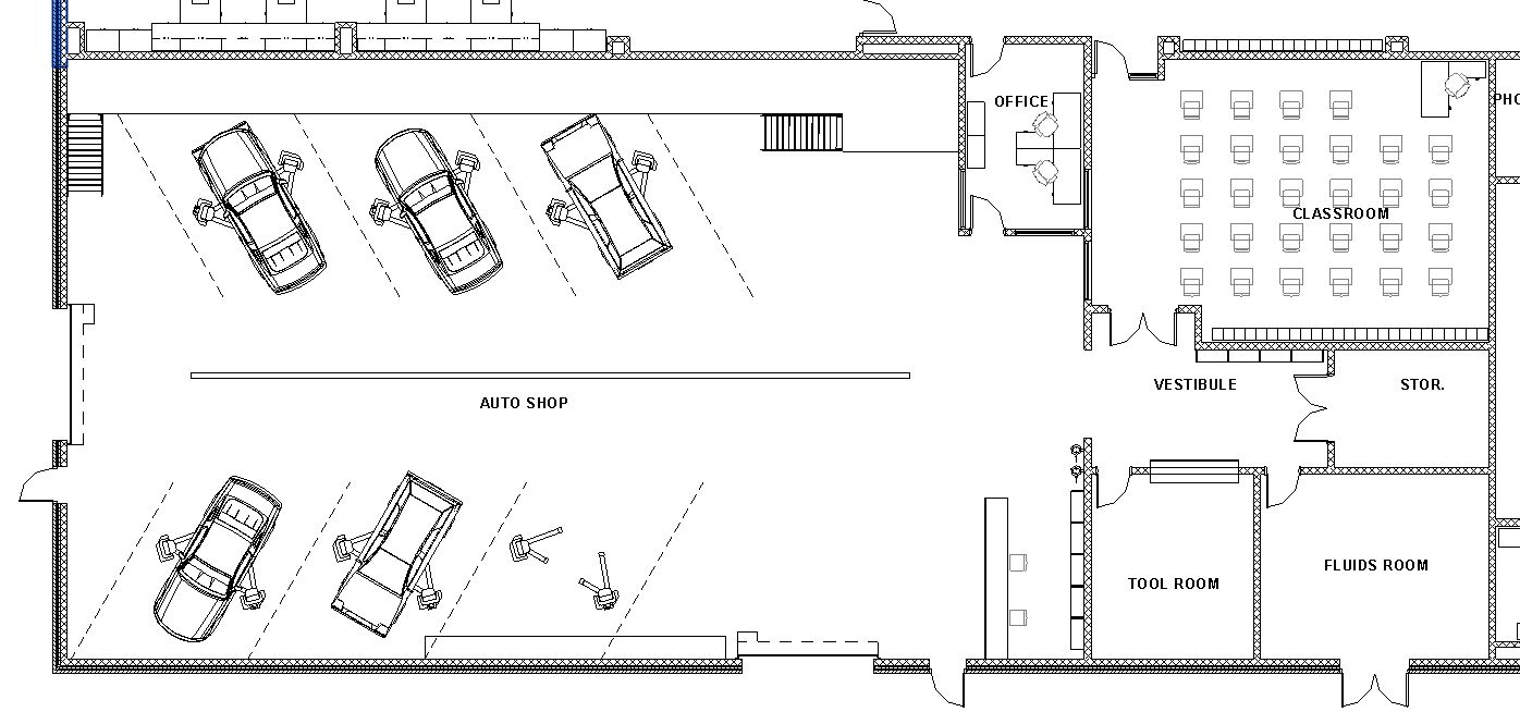 Lake central high school room concepts vocational auto shop for Shop floor plans
