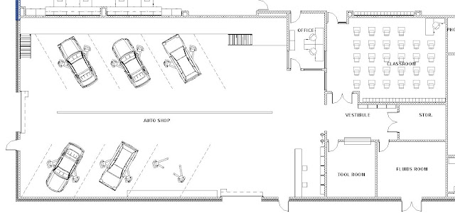Lake central high school room concepts vocational auto shop for Floor plans auto dealers