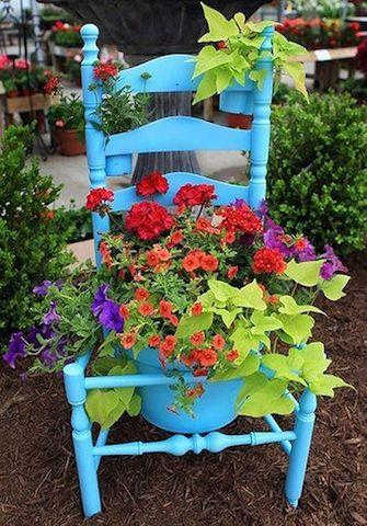 cadeira vaso de flores