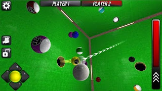 Screenshots of the Cue box: The real 3D pool for Android tablet, phone.