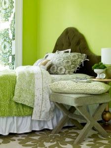 dormitorios con acentos verde