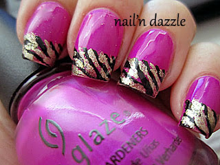 zebra, gold, nails, china, glaze, orly, lux