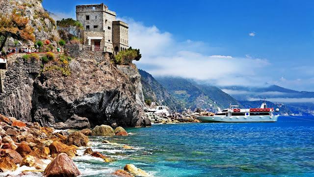 Italy Monterosso al Mare Cinque Terre Castle Boat Sea Beach Rocks HD Wallpaper