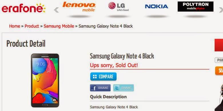 Bocoran Spesifikasi dan Harga Galaxy Note 4 dari Erafone