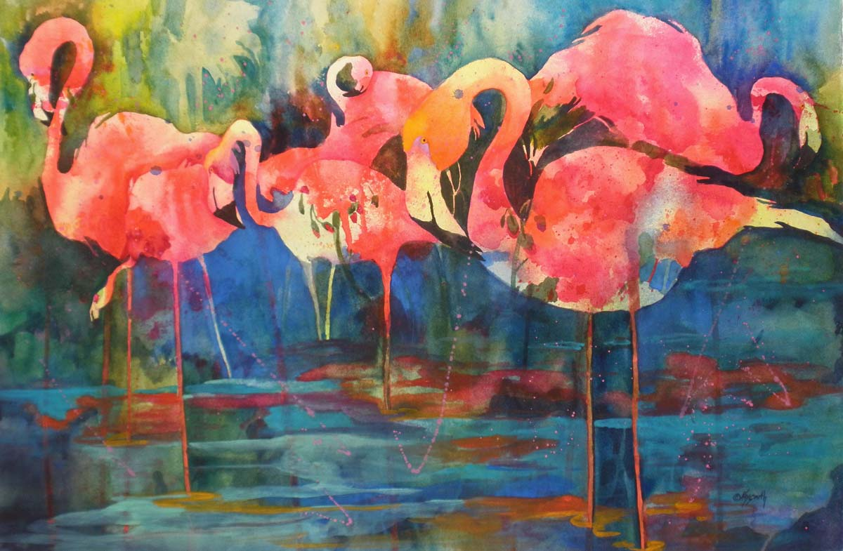 Modern Art Oil Painting Animals Flamingo