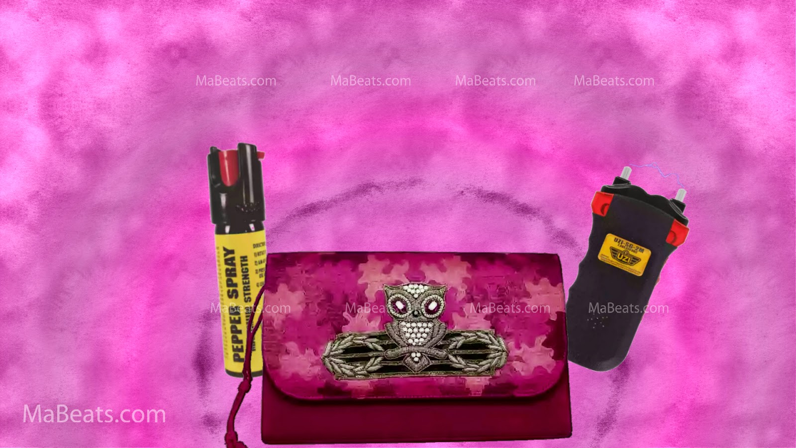 Woman safety, pepper spray, Stun guns, pink cloud background
