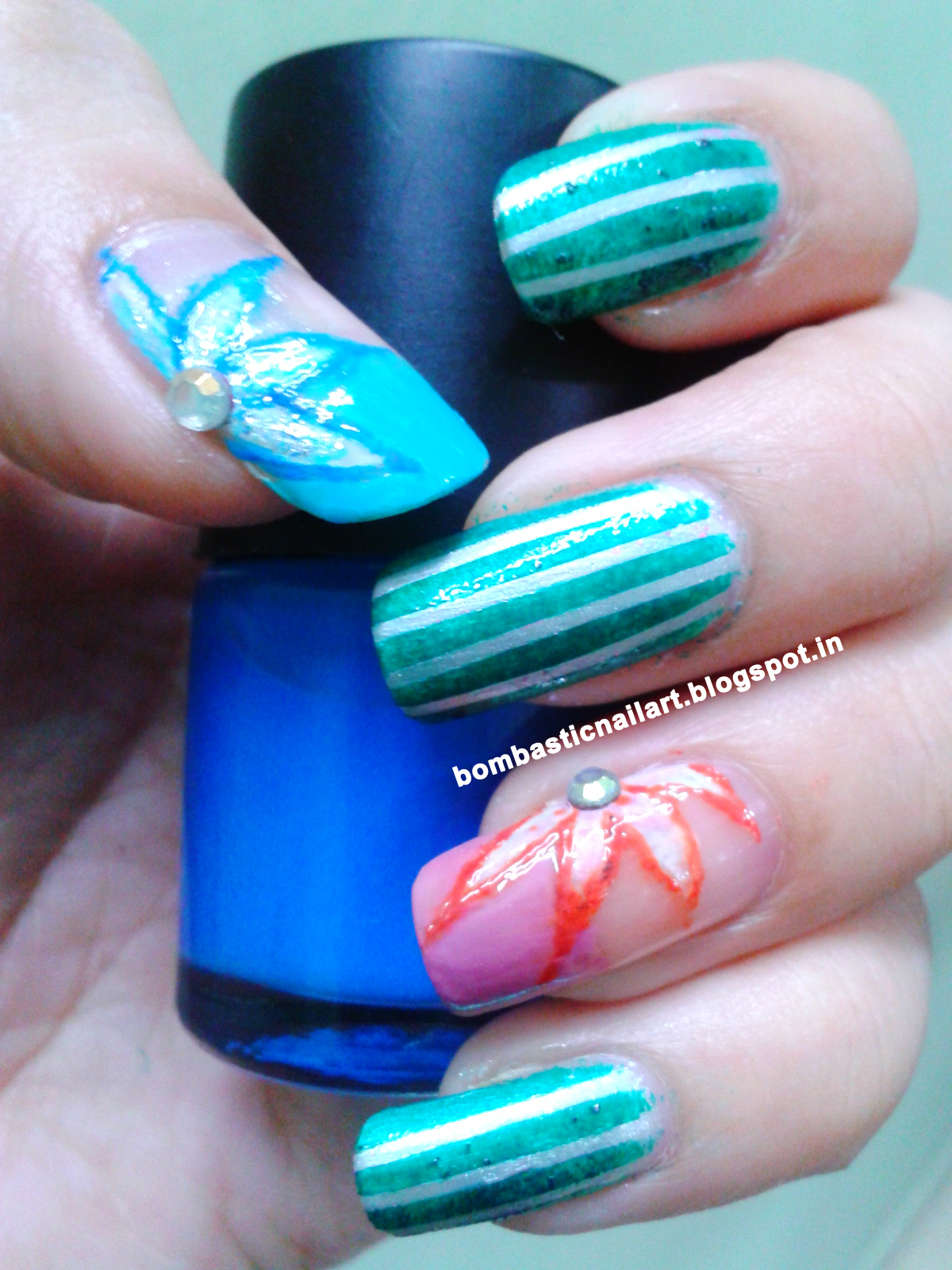 Silver And Green Striping Tape Nail Art With Floral Print
