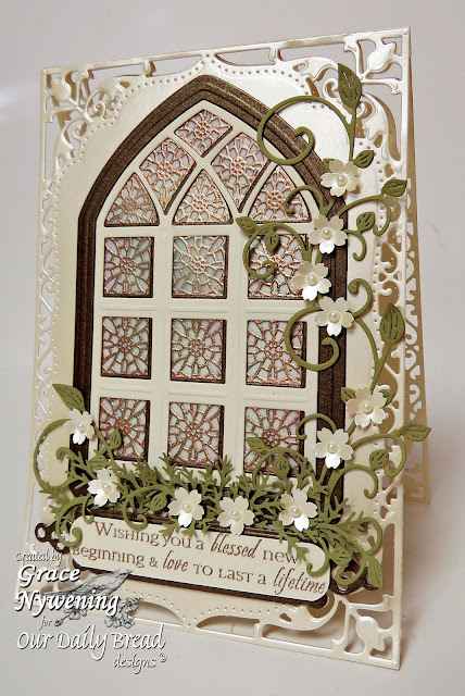 ODBD stamps, Cathedral Window Wood, ODBD Custom Window and Border Die, designed by Grace Nywening