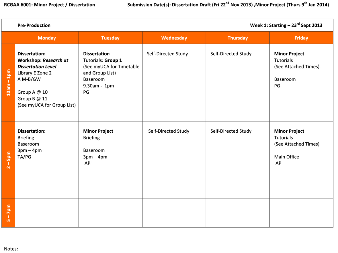 Dissertation Planning Timetable