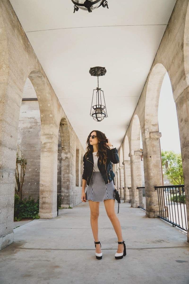 shop your way, fashion, style, travel, st augustine, gingham print, white top, ray ban sunglasses, leather jacket, fringe bag, rebecca minkoff, sears, bongo, circus by sam edelman, nany's klozet, miami fashion blogger