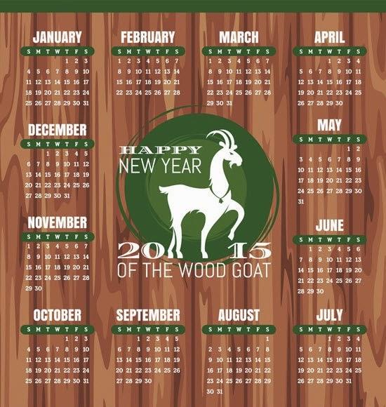 2015 Sheep Calendar Free Vector