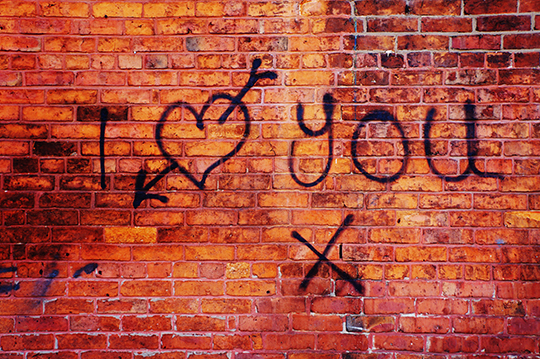 I love You, urban photography, photo, brick wall, graffiti,
