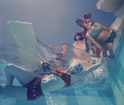 """Palm Springs Fashion no. 8"" Lawrence Schiller (1964), point of view, underwater photography of women swimming"