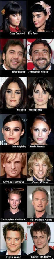 Artistas famosos e outros quase anônimos e que se parecem.